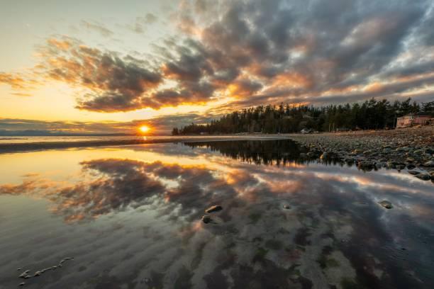 Beautiful sunrise over reflection on water. stock photo
