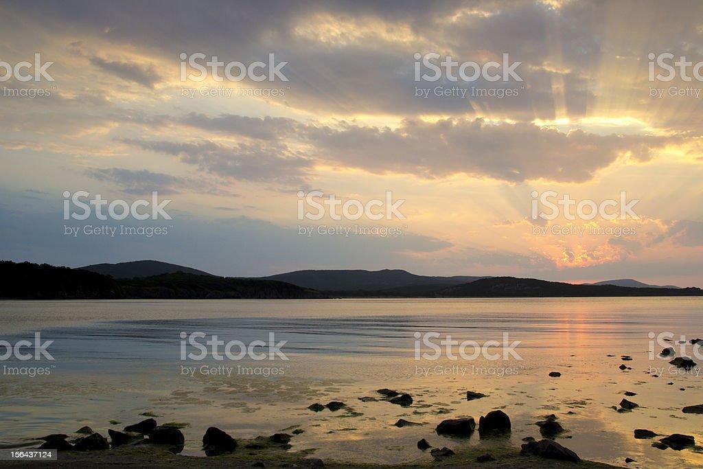 Beautiful sunrise over the Black Sea in Bulgaria royalty-free stock photo