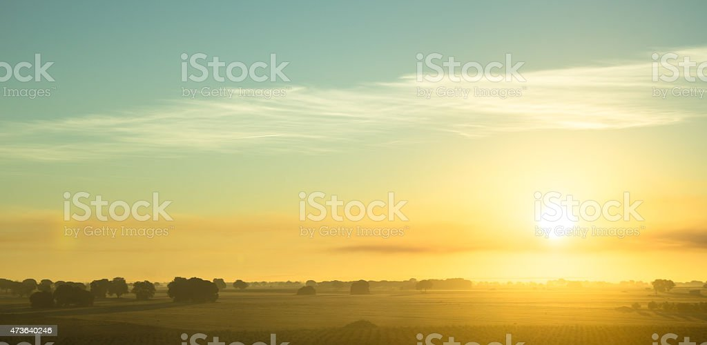 Beautiful sunrise over the fields of La Mancha plateau stock photo