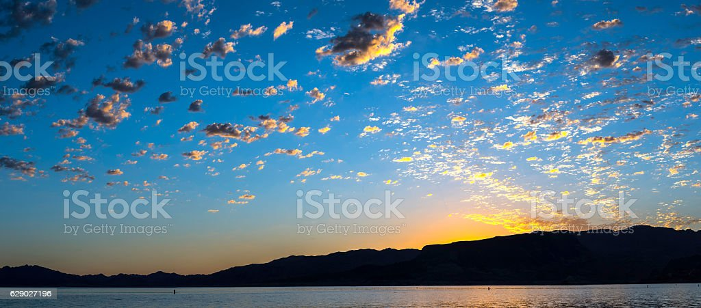 Beautiful sunrise over the lake stock photo