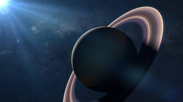 beautiful sunrise over the planet Saturn stock photo