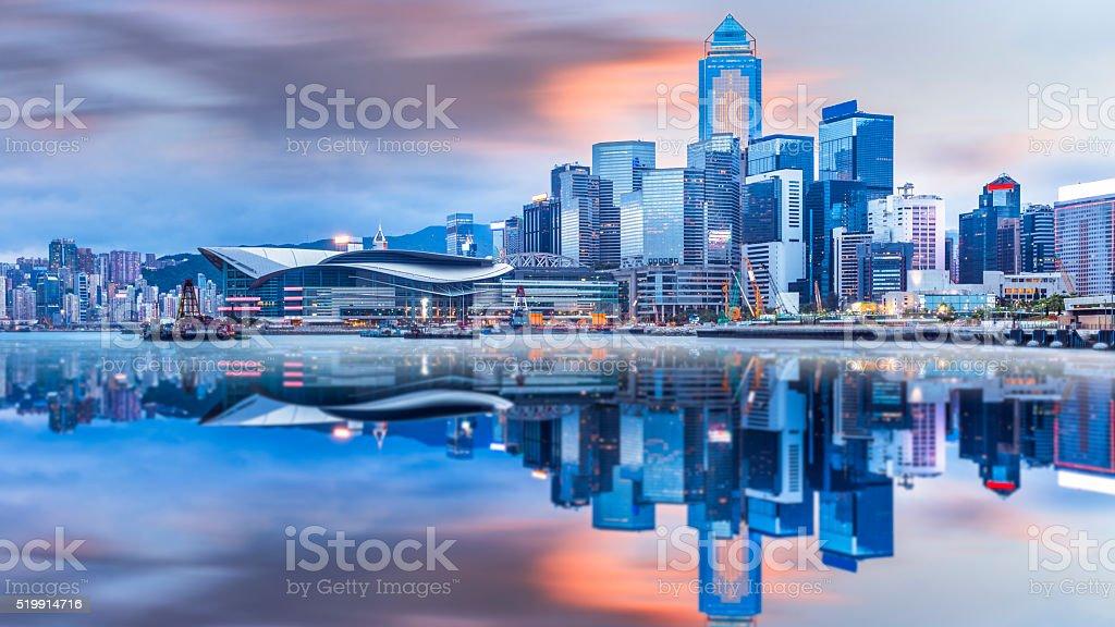 Beautiful  Sunrise over Victoria Harbor stock photo