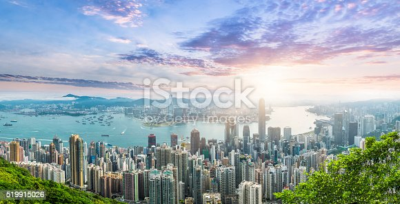 Beautiful  Sunrise over Victoria Harbor , view from Victoria Peak.
