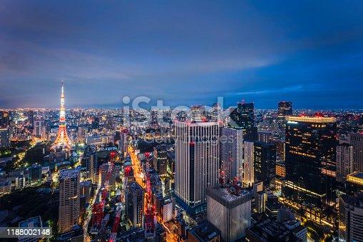 512524478 istock photo Beautiful Sunrise Scene of Tokyo Skyline,Japan 1188002148