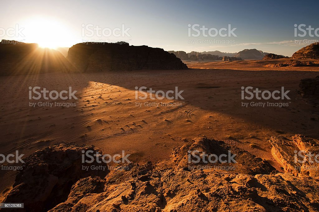 Beautiful sunrise shining on Wadi Rum royalty-free stock photo