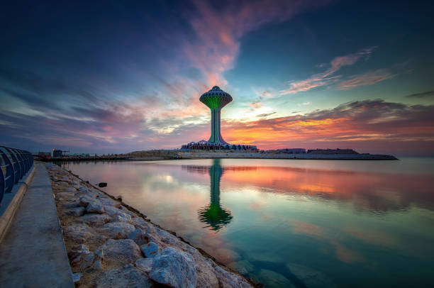 Beautiful Sunrise view at Dammam Al Khobar Corniche Saudi Arabia. Beautiful Sunrise view at Dammam Al Khobar Corniche Saudi Arabia. saudi arabia stock pictures, royalty-free photos & images