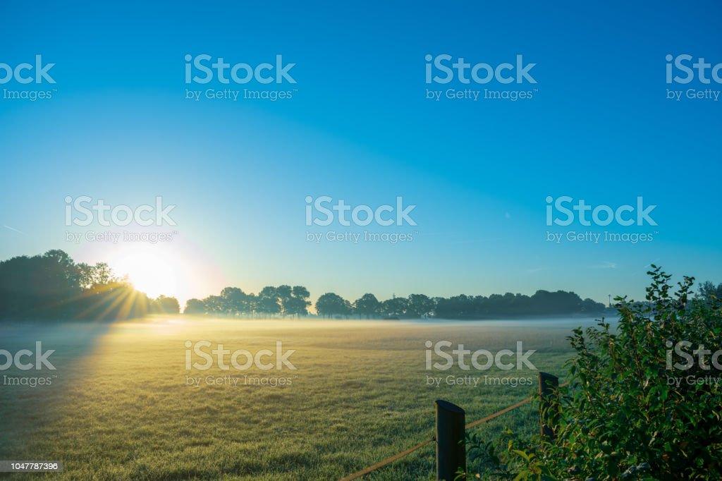 wunderschönen Sonnenaufgang mit Morgennebel auf den Feldern. – Foto