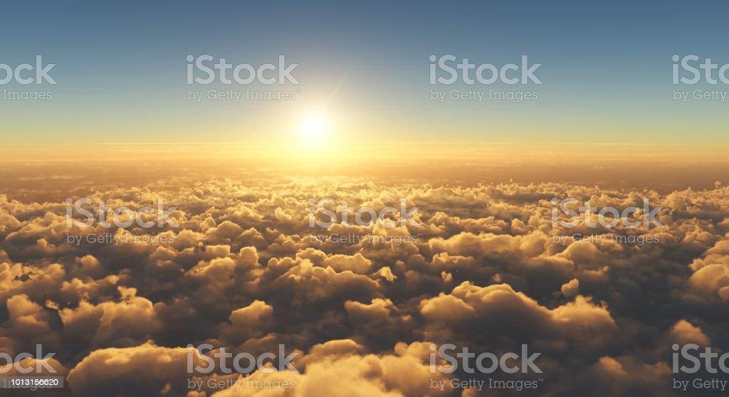 beautiful sunset above clouds stock photo