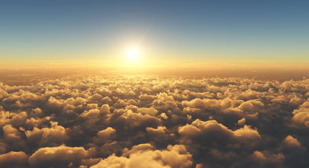 beautiful sunset above clouds high angle view of beautiful golden sunset above clouds aloft stock pictures, royalty-free photos & images