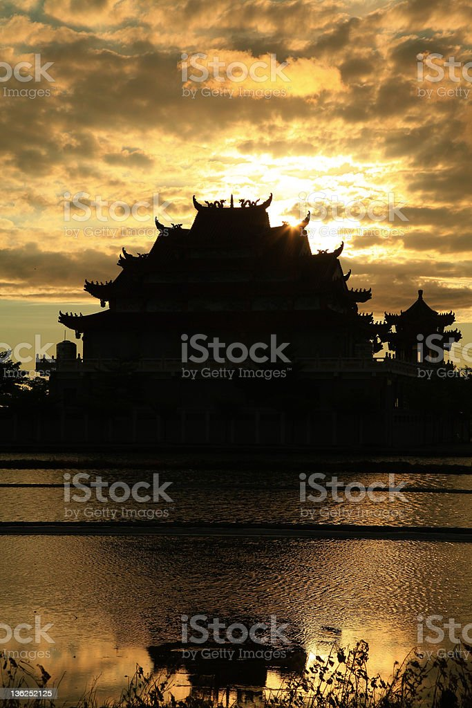 Beautiful Sunset above the Temple in Tainan, Taiwan royalty-free stock photo