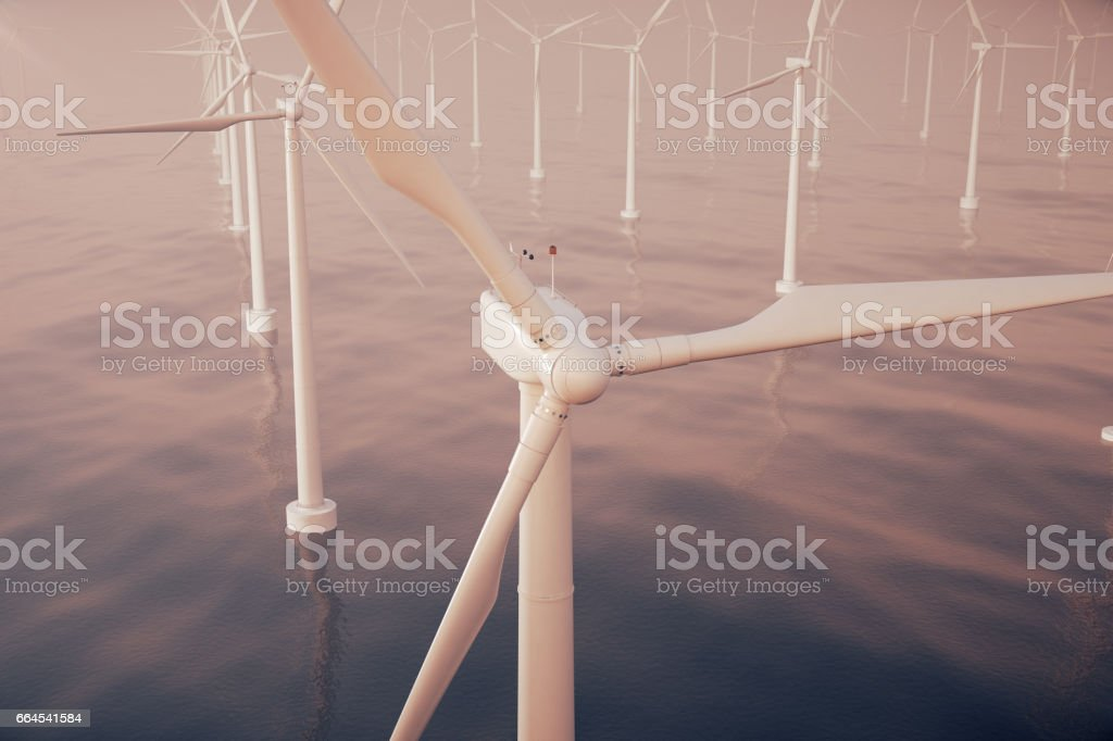 Beautiful sunset above the wind turbines in sea, ocean. Clean energy, wind energy, ecological concept. 3d rendering royalty-free stock photo