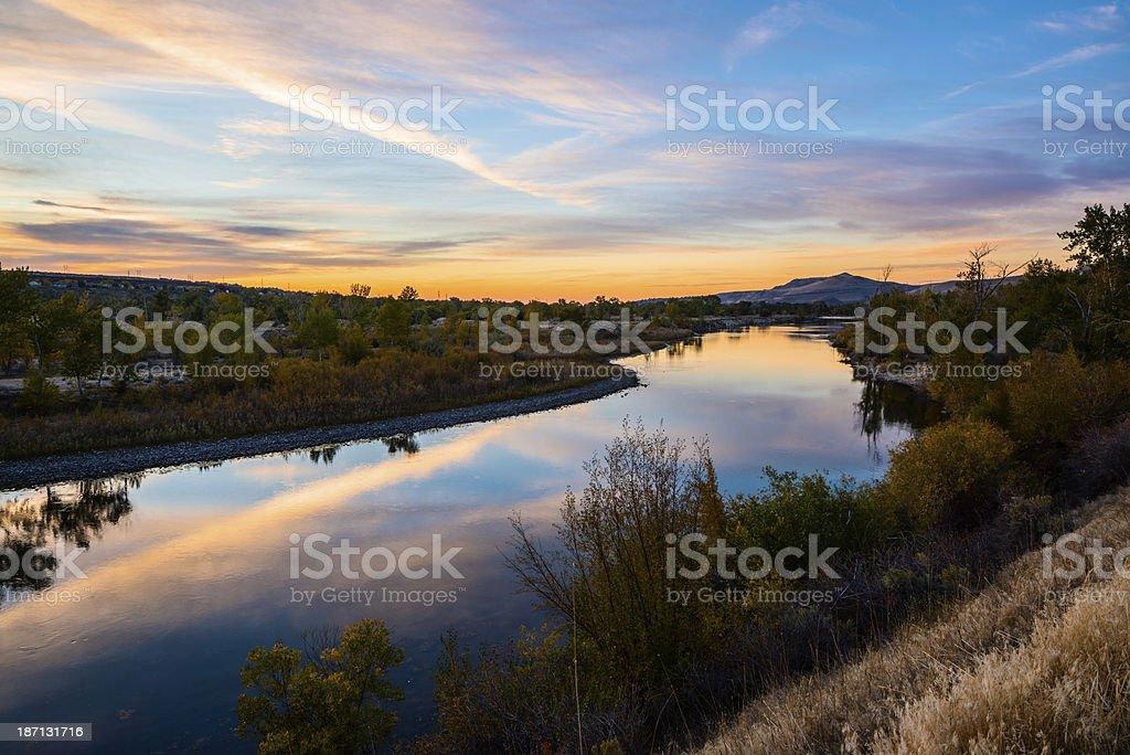 Beautiful sunset along Boise River, Idaho stock photo
