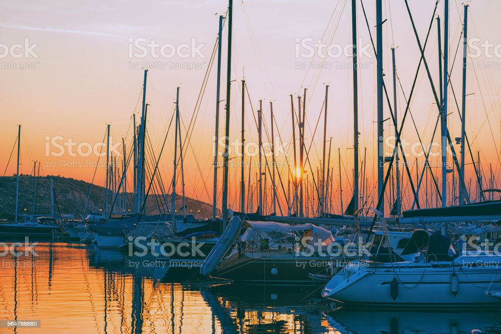 Beautiful sunset and marina Izola village Adriatic sea Slovenia royalty-free stock photo
