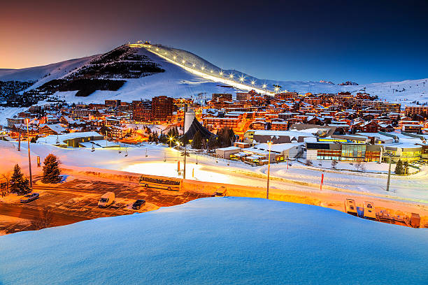 Beautiful sunset and ski resort in the French Alps,Europe​​​ foto