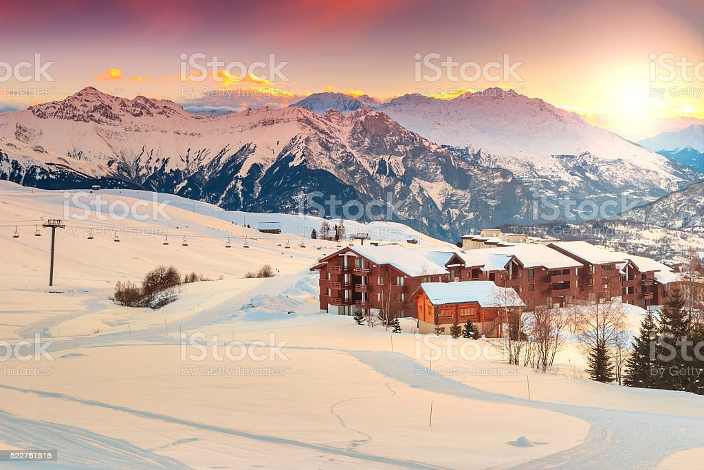 Beautiful sunset and ski resort in the French Alps,Europe stock photo