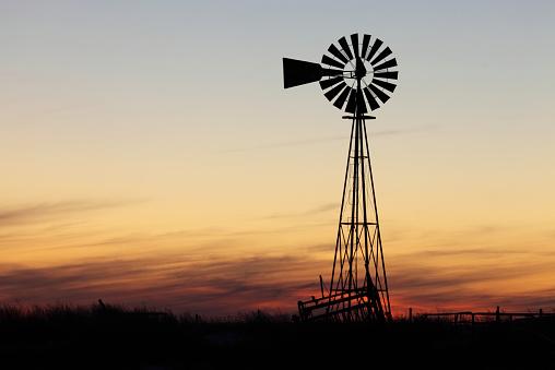 Beautiful sunset and windmill