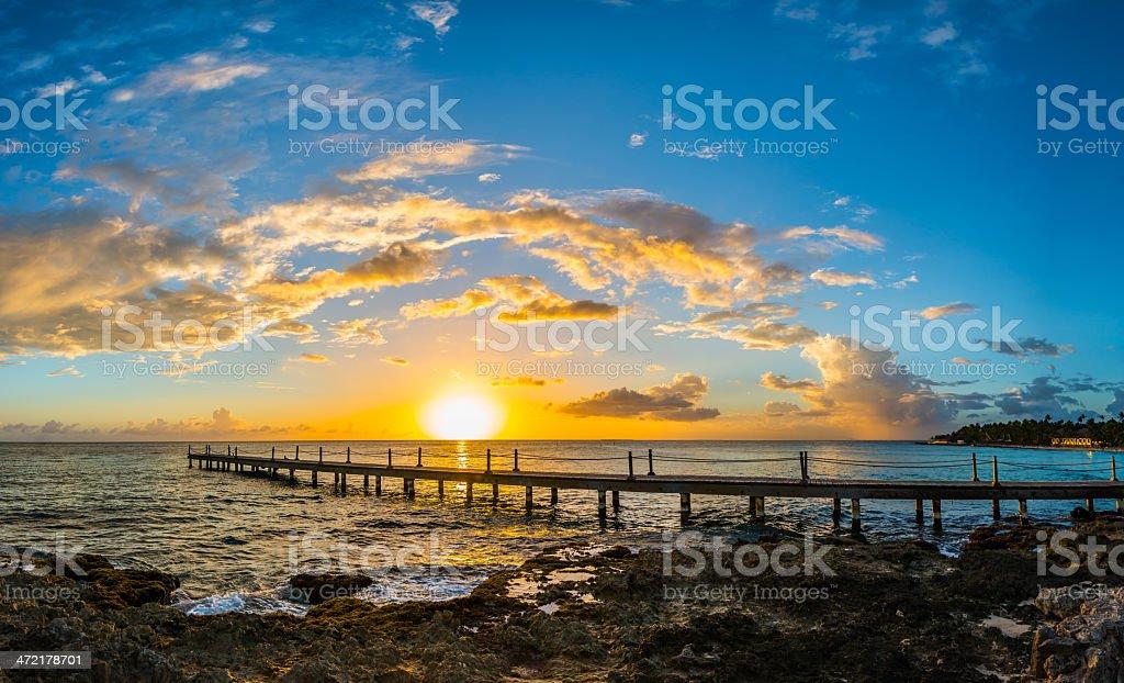 beautiful sunset at Caribbean sea royalty-free stock photo