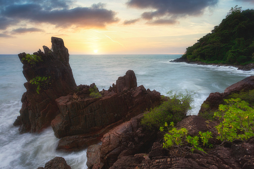 Beautiful sunset at Chai Chet cape on the island of Koh Chang, Thailand