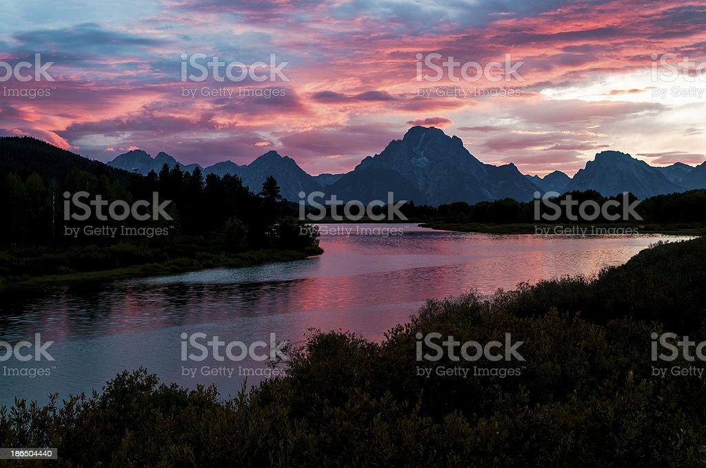 Beautiful Sunset at Grant Tetons royalty-free stock photo