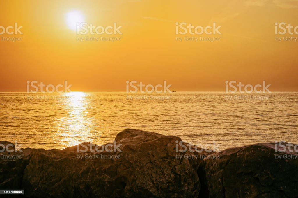 Beautiful sunset at Izola Adriatic in Slovenia royalty-free stock photo
