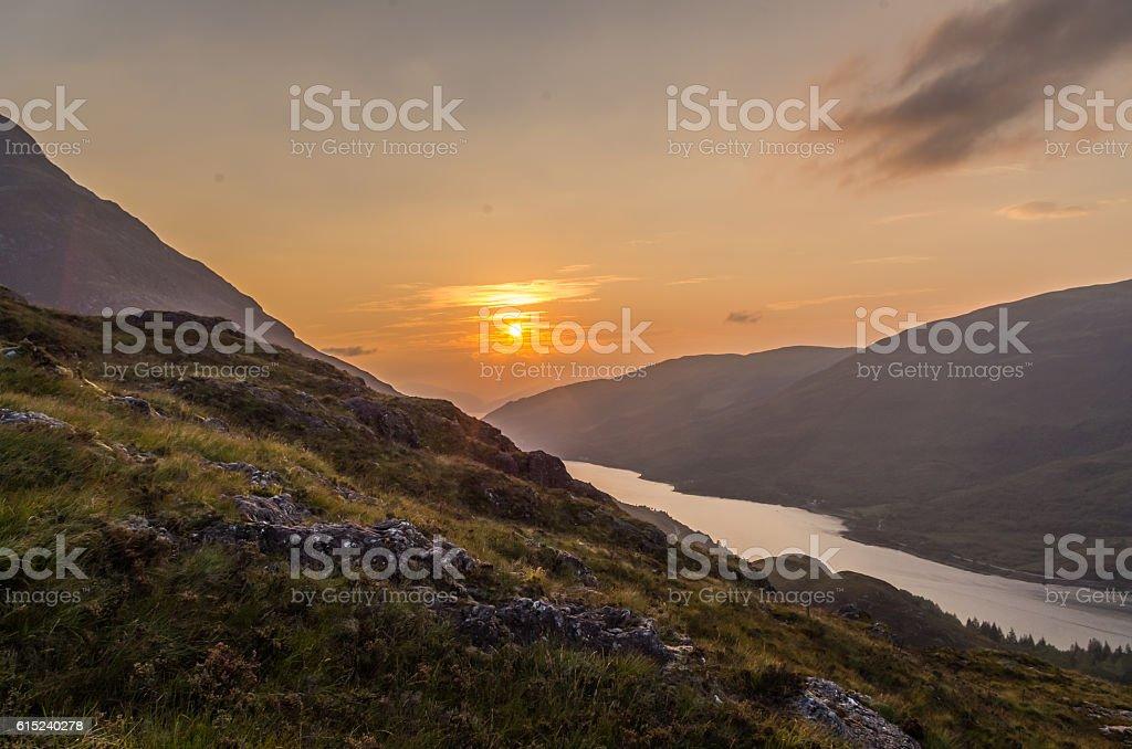 Beautiful sunset at Loch leven in Scotland, Great Brittain - Lizenzfrei Abenddämmerung Stock-Foto