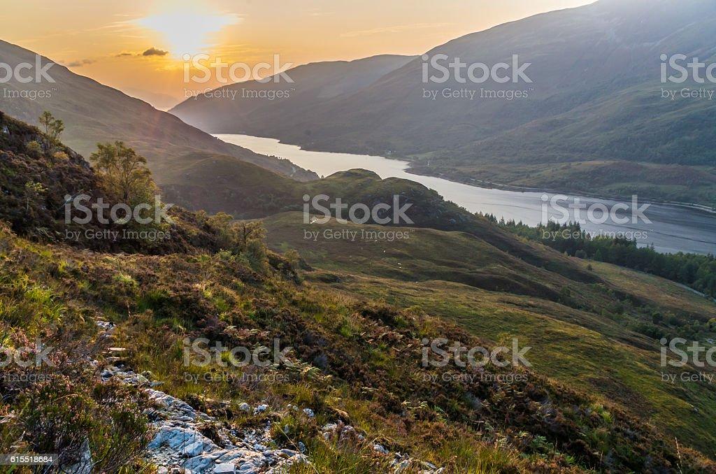 Beautiful sunset at Loch leven in Scotland, Great Brittain - Lizenzfrei Berg Stock-Foto