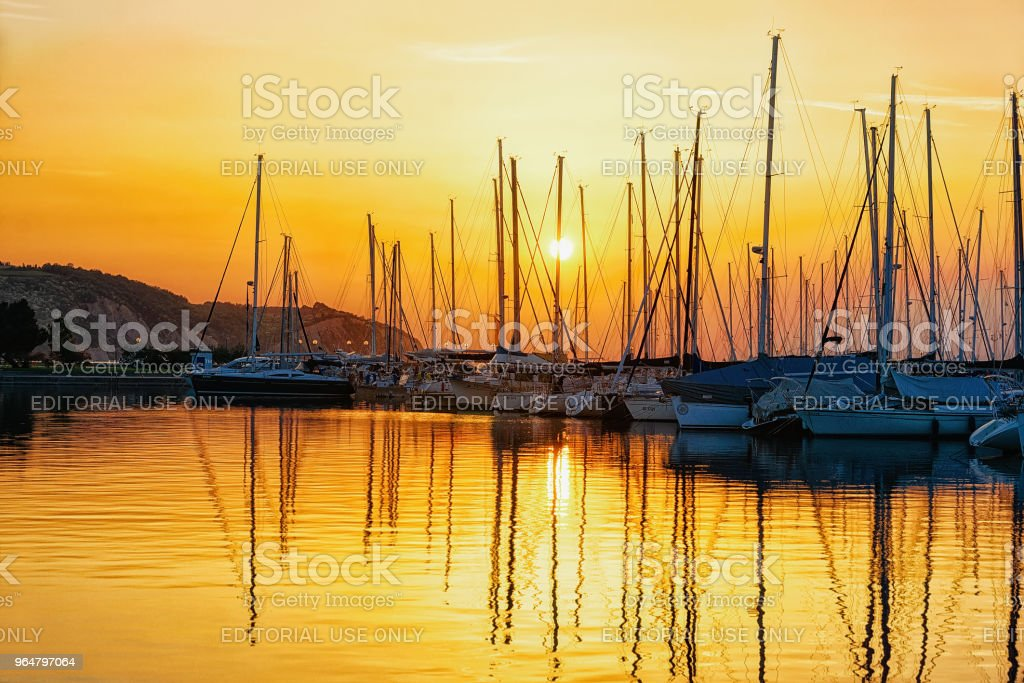 Beautiful sunset at marina Izola village Adriatic sea Slovenia royalty-free stock photo