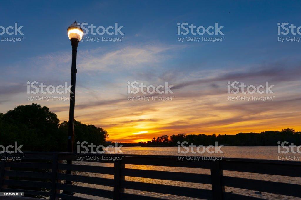 Beautiful sunset at river zbiór zdjęć royalty-free