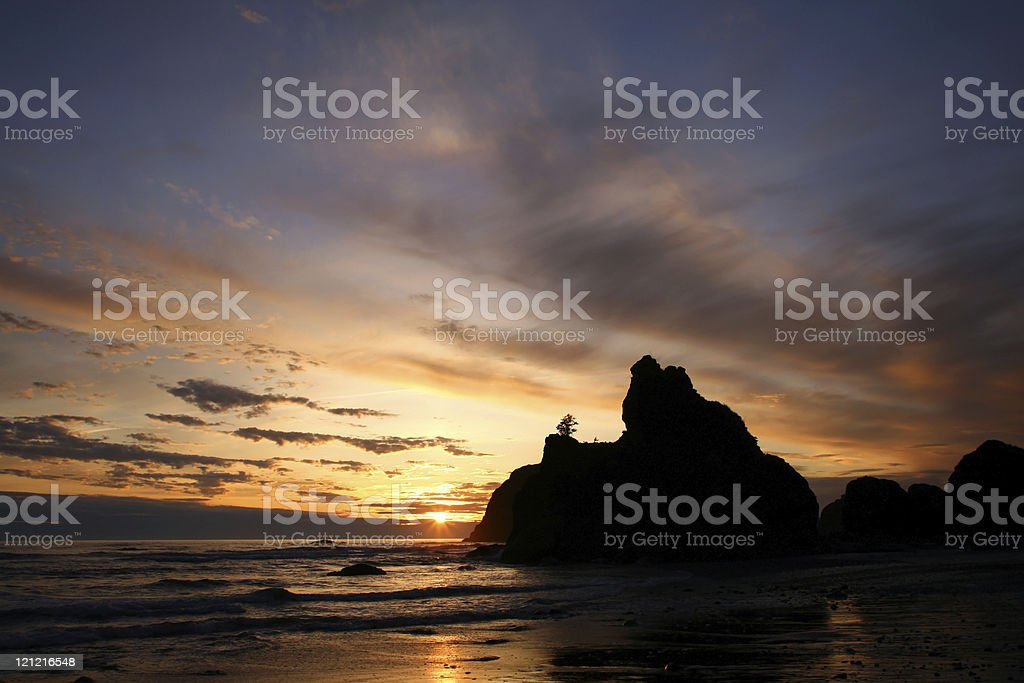 Beautiful Sunset at Ruby Beach in Olympic National Park stock photo