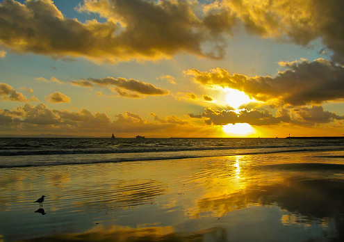 A gorgeous sunset at Seal Beach in Orange County, California.