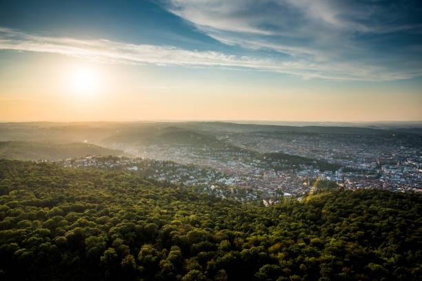 beautiful sunset at stuttgart city, germany - sommerferien baden württemberg stock-fotos und bilder