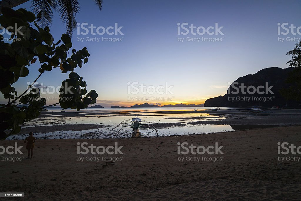 Beautiful sunset at the beach royalty-free stock photo