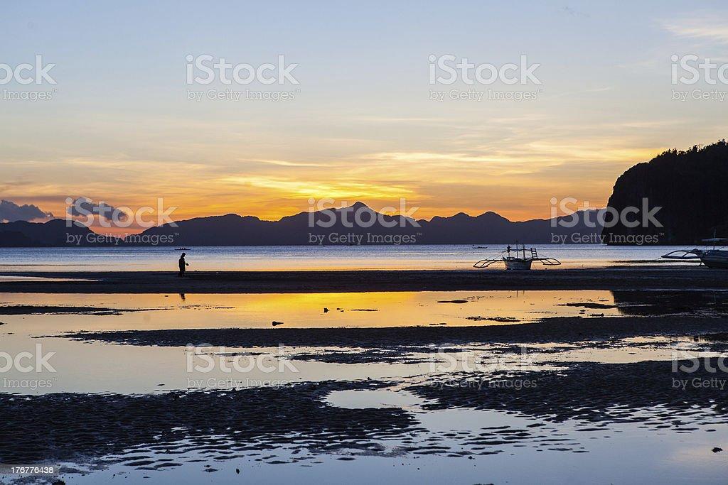 Beautiful sunset at the beach royalty-free stock photo