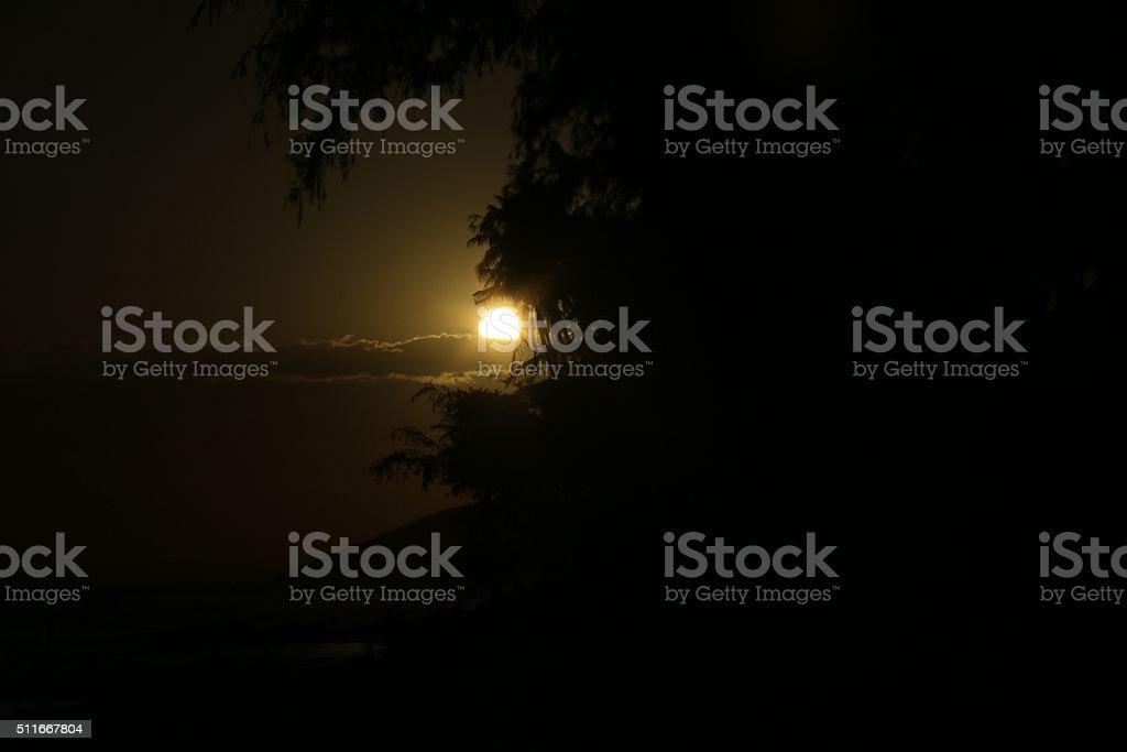 Beautiful sunset at the Phan Thiet Beach in Vietnam stock photo