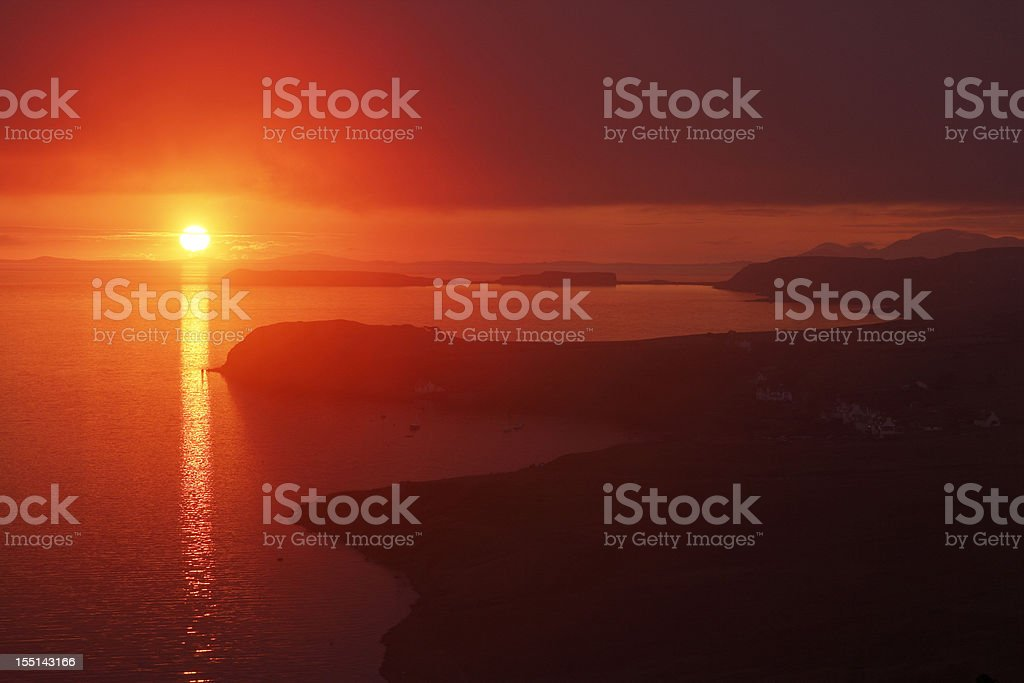 beautiful sunset at the sea stock photo