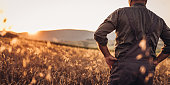 One senior farmer in uniform standing in the wheat field.