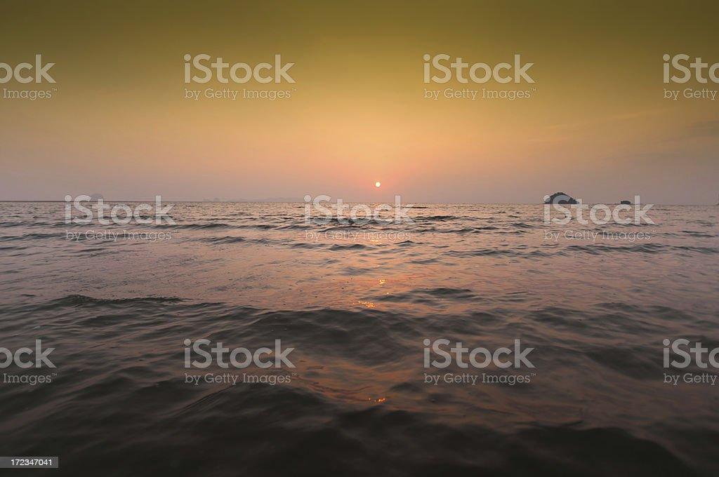 Beautiful sunset at tropical sea royalty-free stock photo