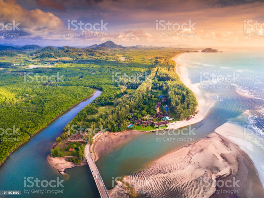 Beautiful sunset at tropical sea sunset in south thailand stock photo