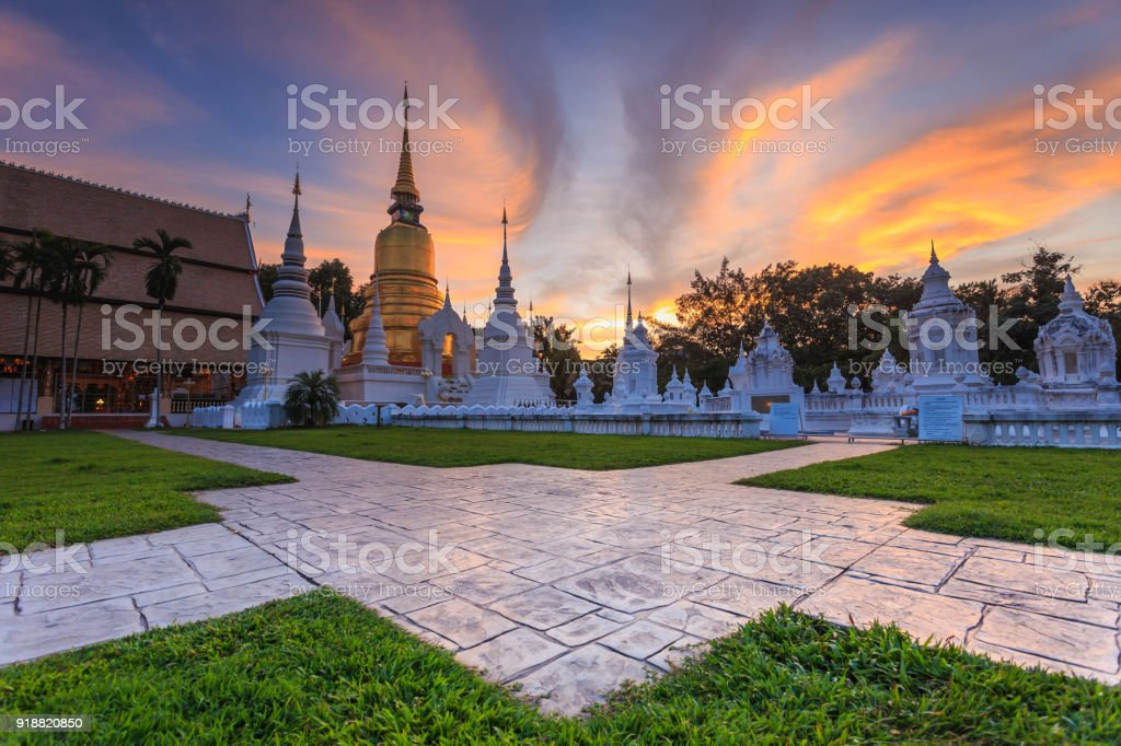 Beautiful sunset at Wat Suan Dok. Buddhist temple (Wat) in Chiang Mai, Northern of Thailand stock photo
