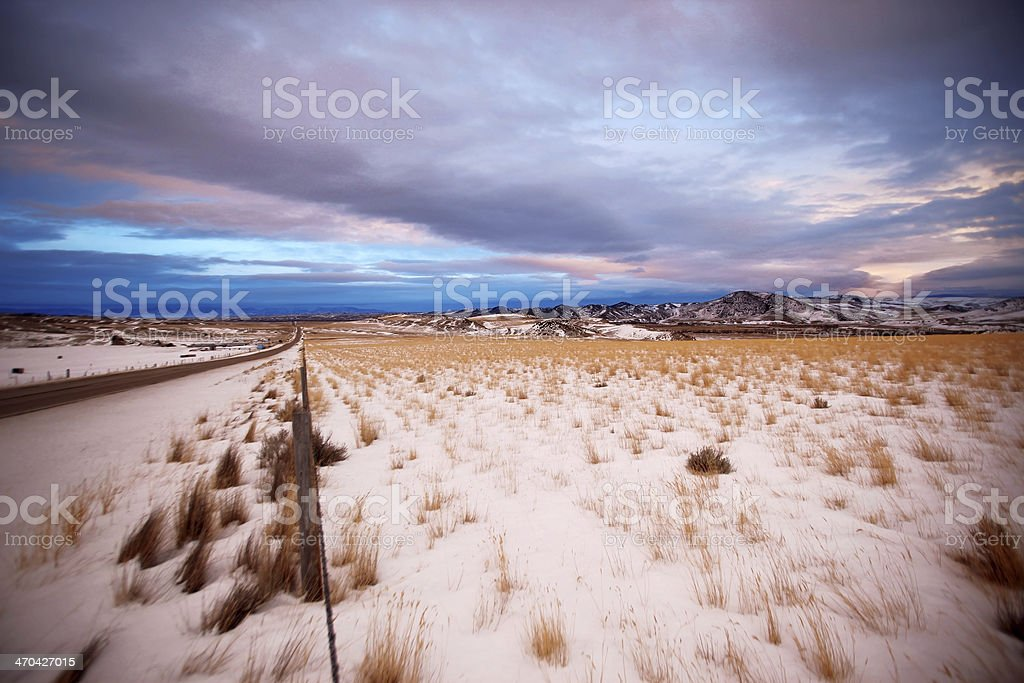 Beautiful sunset at Winter Mt and clouds sky, Montana, USA royalty-free stock photo