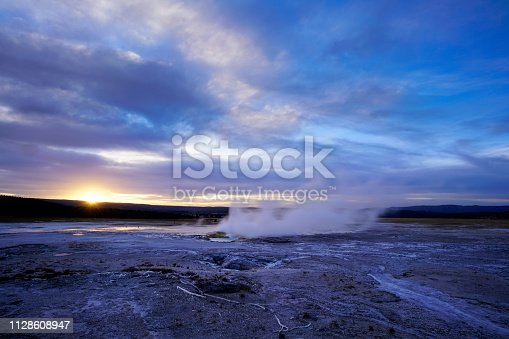 A gorgeous sunset at geothermal hot springs of Yellowstone National Park. If you prefer panoramas, please see my portfolio for the same image cropped with a 16:9 aspect ratio.