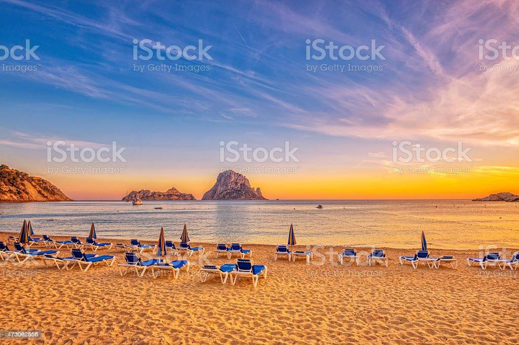 Beautiful sunset beach at Cala d´Hort on Ibiza stock photo