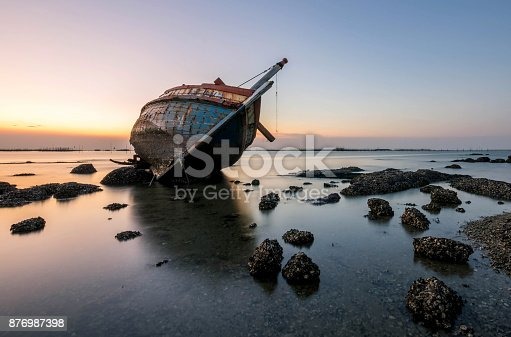 beautiful sunset  ,boat crashes in the sea , landscape  Thailand