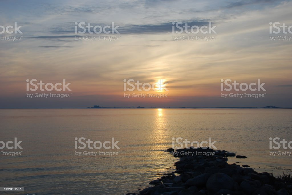 Beautiful sunset by the Baltic Sea stock photo