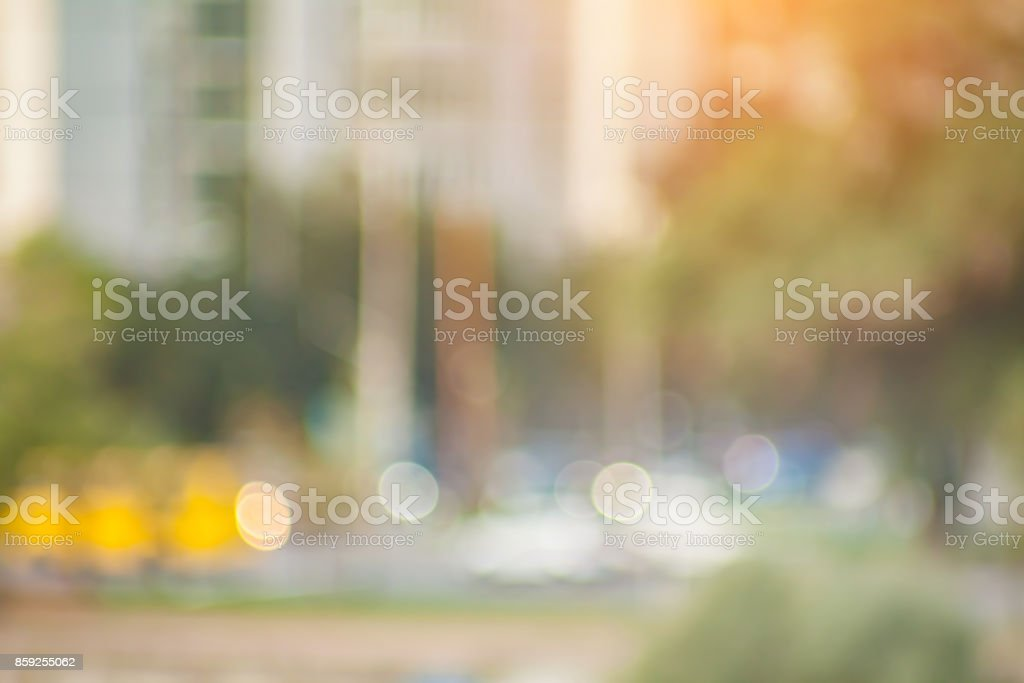 Beautiful sunset city bokeh. stock photo