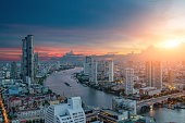 Beautiful sunset cityscape Urban of Bangkok city at night , landscape Thailand Bangkok cityscape. Bangkok night view in the business district. at twilight.