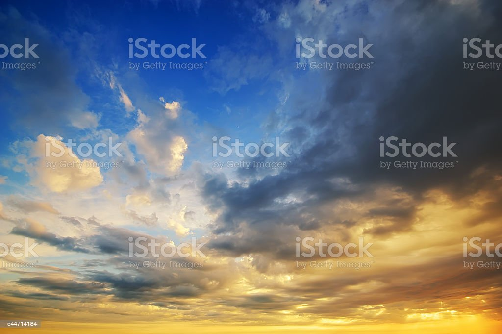 beautiful sunset clouds. stock photo