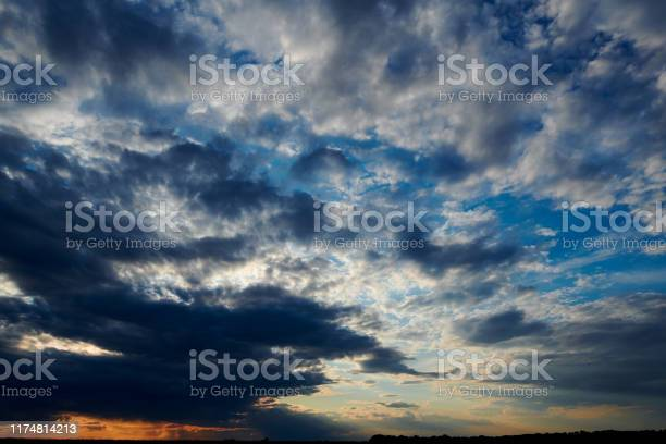 Photo of Beautiful sunset - dark sky with clouds and sunlight