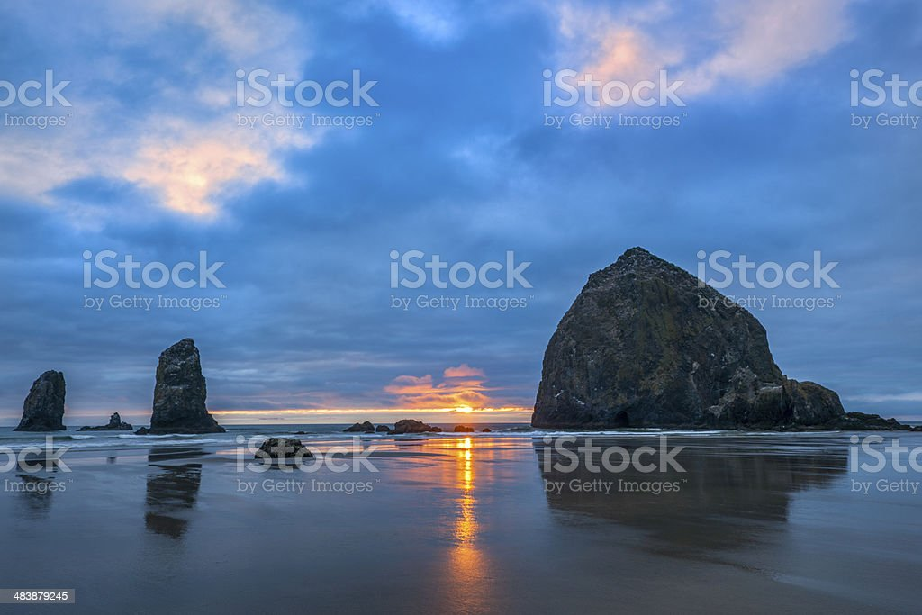 Beautiful Sunset, Haystack Rock, Cannon Beach stock photo