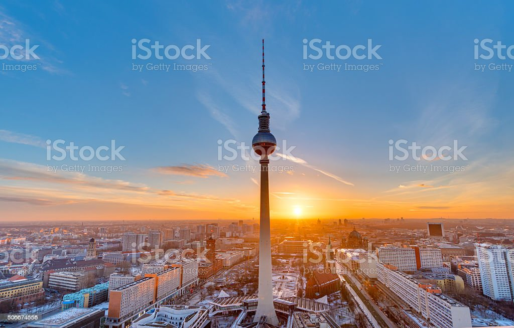 Beautiful sunset in Berlin stock photo